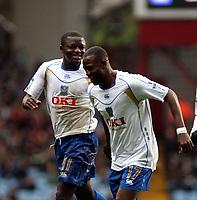 Photo: Mark Stephenson/Sportsbeat Images.<br /> Aston Villa v Portsmouth. The FA Barclays Premiership. 08/12/2007.Portsmouth's Sulley Ali Muntari (L) celebrates his 2ed goal with team mate John Utaka
