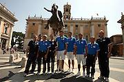 ROMA 29 AGOSTO 2007<br /> BASKET<br /> NAZIONALE ITALIANA UOMINI<br /> CONFERENZA STAMPA IN CAMPIDOGLIO DI PRESENTAZIONE DI ITALIA-GRECIA<br /> NELLA FOTO SILVESTRI-CACCIUNI-RECALCATI-GIGLI-BARGNANI-BELINELLI MANTICA-MENEGHIN<br /> FOTO CIAMILLO-CASTORIA