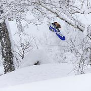 Nick Larson oozes steeze in the trees, Rusutsu Japan.