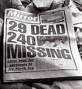 Front page of The Daily Mirror reporting the sinking of MS Herald of Free Enterp, UK, 1987.