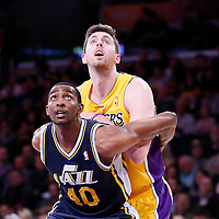 11 February 2014: Los Angeles Lakers power forward Ryan Kelly (4) vies for the rebound with Utah Jazz small forward Jeremy Evans (40) during the Utah Jazz 96-79 victory over the Los Angeles Lakers at the Staples Center, Los Angeles, California, USA.