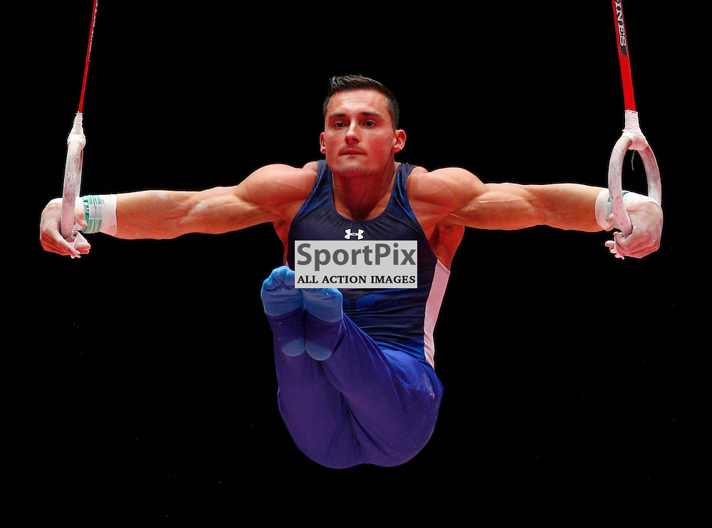 2015 Artistic Gymnastics World Championships being held in Glasgow from 23rd October to 1st November 2015....Brandon Wynn (USA) competing in the Still Rings competition..(c) STEPHEN LAWSON | SportPix.org.uk