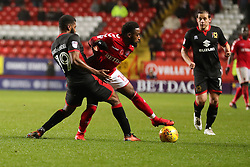 Charlton Athletics Tariqe Foso and Milton Keynes Dons Ethan Ebanks-Landell during the Sky Bet League One match at The Valley, Charlton.