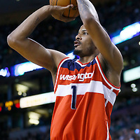 07 April 2013: Washington Wizards small forward Trevor Ariza (1) takes a jumpshot during the Boston Celtics 107-96 victory over the Washington Wizards at the TD Garden, Boston, Massachusetts, USA.