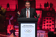 Rio de Janerio Mayor Eduardo Paes gestures as he delivers a speech during the opening plenary session of the International Olympic Committee (IOC) Debriefing of the Rio de Janeiro Olympic Games in Tokyo on November 28, 2016. The IOC holds the three-day meeting in Tokyo where it will host the next Olympic and Paralympic games in 2020. Japan 28/11/2016-Tokyo, JAPAN