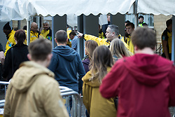 © Licensed to London News Pictures . 09/09/2017. Manchester , UK . People queue for bag searches outside the venue . We Are Manchester reopening charity concert at the Manchester Arena with performances by Manchester artists including  Noel Gallagher , Courteeners , Blossoms and the poet Tony Walsh . The Arena has been closed since 22nd May 2017 , after Salman Abedi's terrorist attack at an Ariana Grande concert killed 22 and injured 250 . Money raised will go towards the victims of the bombing . Photo credit: Joel Goodman/LNP