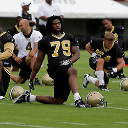05 June 2009: Saints defensive end Anthony Hargrove (79) participates in drills during the New Orleans Saints Minicamp held at the team's practice facility in Metairie, Louisiana.