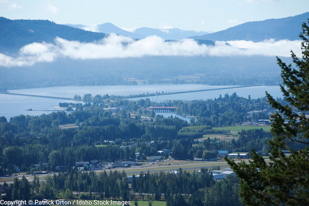 Overlook of Sandpoint, Idaho and Lake Pend Oreille. Summer Tourism Adventure.