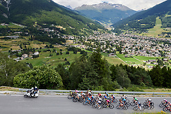 The roads rise above Bormio at Stage 5 of 2019 Giro Rosa Iccrea, a 88.8 km road race from Ponte in Valtellina to Lago di Cancano, Italy on July 9, 2019. Photo by Sean Robinson/velofocus.com