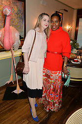 Left to right, DAISY DE VILLENEUVE and SUSAN BENDER at a dinner hosted by Kate Spade NY to celebrate Chelsea in Bloom held at Daphne's, 112 Draycott Avenue, London on 20th May 2015.