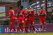 York City defender Dave Winfield celebrates his goal  during the Sky Bet League 2 match between York City and Morecambe at Bootham Crescent, York, England on 19 December 2015. Photo by Simon Davies.