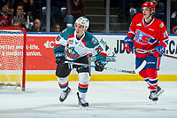 KELOWNA, CANADA - MARCH 3: Liam Kindree #26 of the Kelowna Rockets skates against the Spokane Chiefs  on March 3, 2018 at Prospera Place in Kelowna, British Columbia, Canada.  (Photo by Marissa Baecker/Shoot the Breeze)  *** Local Caption ***