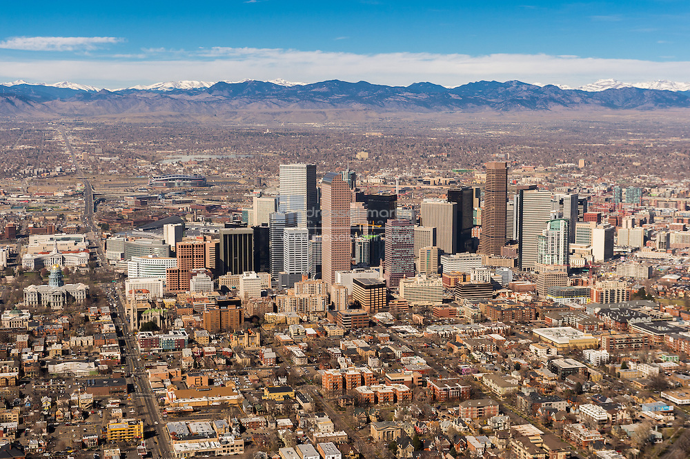aerials of dbg and downtown denver