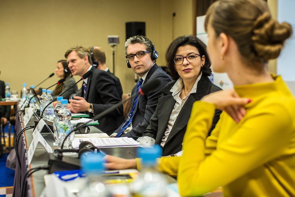 KIEV, UKRAINE - MARCH 4, 2016: Oksana Syroyid, second from right, deputy speaker of the Ukrainian parliament, participates in a roundtable discussion on strengthening the judicial system in Kiev, Ukraine. Syroyid is one of parliament's main opponents of the constitutional reforms called for in the Minsk agreement intended to resolve fighting in eastern Ukraine. CREDIT: Brendan Hoffman for The New York Times