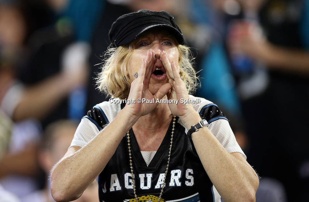 A Jacksonville Jaguars cheers during the 2015 week 11 regular season NFL football game against the Tennessee Titans on Thursday, Nov. 19, 2015 in Jacksonville, Fla. The Jaguars won the game 19-13. (©Paul Anthony Spinelli)