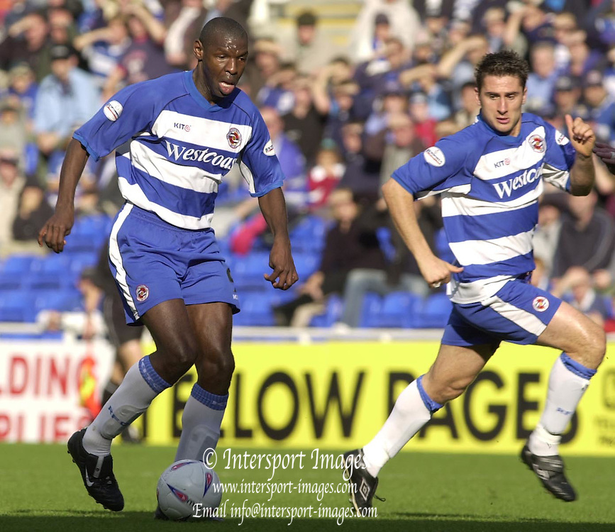 Reading, England, Nationwide Division One Football Reading v Preston North End, Readings, Nicky Forster, right run off Shaun Goater [on the ball] as Reading attack,  at the Madejski Stadium, on 18/10/2003 [Credit  Peter Spurrier/Intersport Images]..