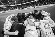 HARRISON, NJ - APRIL 16:  Members of the New York Red Bulls huddle before the game against the Philadelphia Union at Red Bulls Arena on April 16, 2014. (Photo By: Rob Tringali)