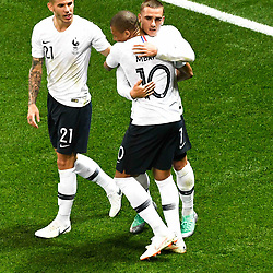 Antoine Griezmann of France celebrates his goal with Kylian Mbappe and Lucas Hernandez of France during the International Friendly match between France and Italy at Allianz Riviera Stadium on June 1, 2018 in Nice, France. (Photo by Pascal Della Zuana/Icon Sport)