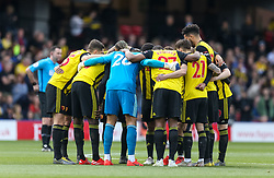 Watford form a huddle during the Premier League match at Vicarage Road, Watford.