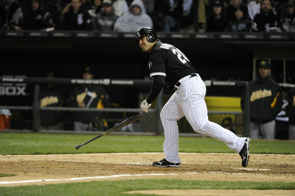 CHICAGO - APRIL 12:  Carlos Quentin #20 of the Chicago White Sox bats against the Oakland Athletics on April 12, 2011 at U.S. Cellular Field in Chicago, Illinois.  The White Sox defeated the Athletics 6-5.  (Photo by Ron Vesely)  Subject:  Carlos Quentin