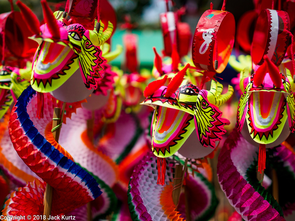 15 FEBRUARY 2018 - BANGKOK, THAILAND: Chinese toys for sale for Tet in Bangkok's Chinatown. Wat Mangkon Kamalawat is the largest Chinese temple in Chinatown. Lunar New Year, also called Tet or Chinese New Year, is 16 February this year. The coming year will be the Year of the Dog. Thailand has a large Chinese community and Lunar New Year is widely celebrated in Thailand, especially in Bangkok and large cities with significant Chinese communities.    PHOTO BY JACK KURTZ