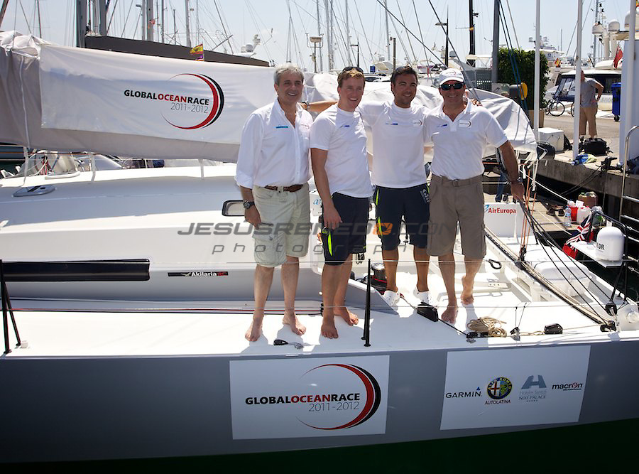 Hugo Ramo?n and Conrad Colman brand new Akilaria RC2 Class 40,Jasmine Flyer, on their presentation to the local press in Palma, ©jrenedo