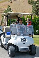 KELOWNA, CANADA - JULY 21: Alumni Gordie Ballhorn drives a golf cart at the Kelowna Rockets Alumni golf tournament at Black Mountain Golf Club in Kelowna, British Columbia, Canada.  (Photo by Marissa Baecker/Shoot the Breeze)  *** Local Caption ***