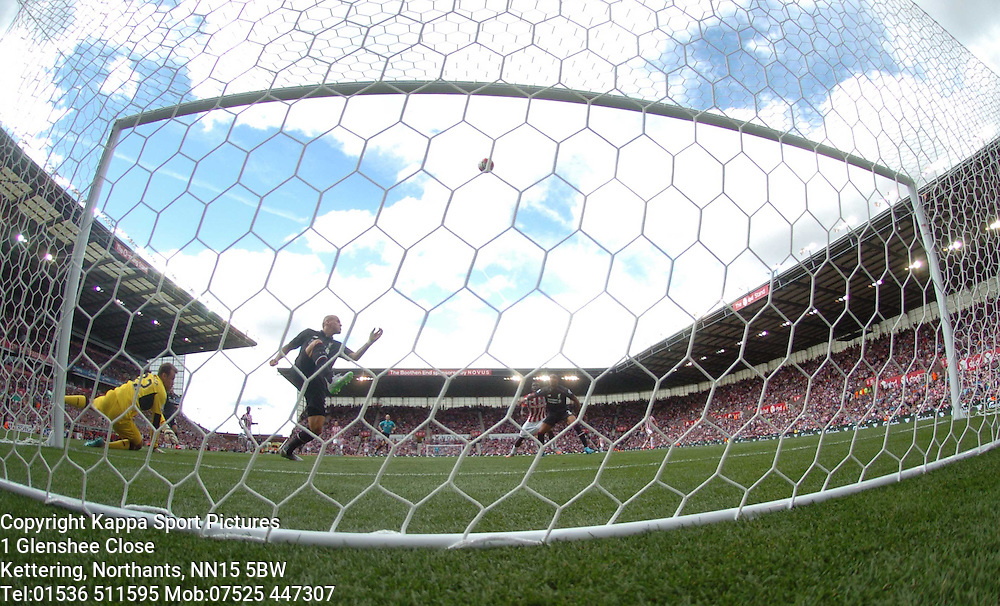 LIVERPOOLS MARTIN SKRTEL CLEARS STOKES SHOT ON TARGET OF THE LINE, Stoke City v Liverpool, Premiership, Britannia Stadium Sunday 9th August 2015
