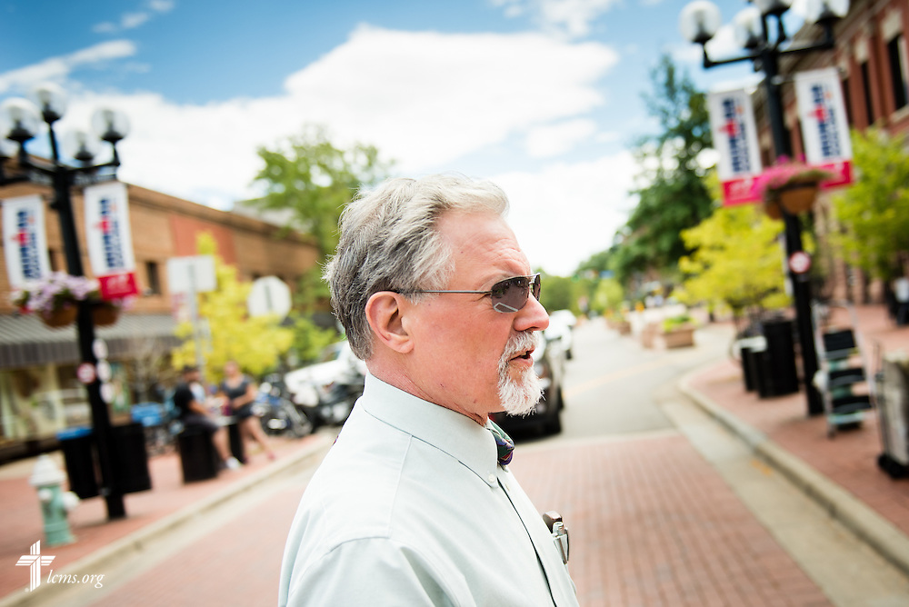 Dr. E. Christian Kopff, Associate Professor of Classics at the University of Colorado, Boulder, walks through the city on Wednesday, July 22, 2015, in Boulder, Colo. LCMS Communications/Erik M. Lunsford
