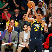 10 October 2017: Utah Jazz forward Thabo Sefolosha (22) takes a jump shot during the Utah Jazz 105-99 victory over the LA Lakers, at the Staples Center, Los Angeles, California, USA.