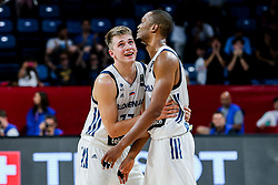 Luka Doncic of Slovenia and Anthony Randolph of Slovenia during basketball match between National Teams of Slovenia and Latvia at Day 13 in Round of 16 of the FIBA EuroBasket 2017 at Sinan Erdem Dome in Istanbul, Turkey on September 12, 2017. Photo by Vid Ponikvar / Sportida