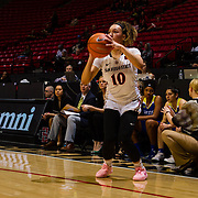 24 February 2018: The San Diego State women's basketball team closes out it's home schedule of the regular season Saturday afternoon against San Jose State. San Diego State Aztecs guard Naje Murray (10) lines her sights for a three point attempt in the first half. At halftime the Aztecs lead the Spartans 36-33 at Viejas Arena.<br /> More game action at sdsuaztecphotos.com