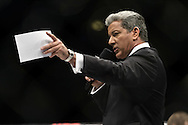 "STOCKHOLM, SWEDEN, APRIL 14: Bruce Buffer announces the start of a fiight during ""UFC on Fuel TV: Gustafsson vs. Silva"" inside the Ericsson Globe Arena in Stockholm, Sweden"