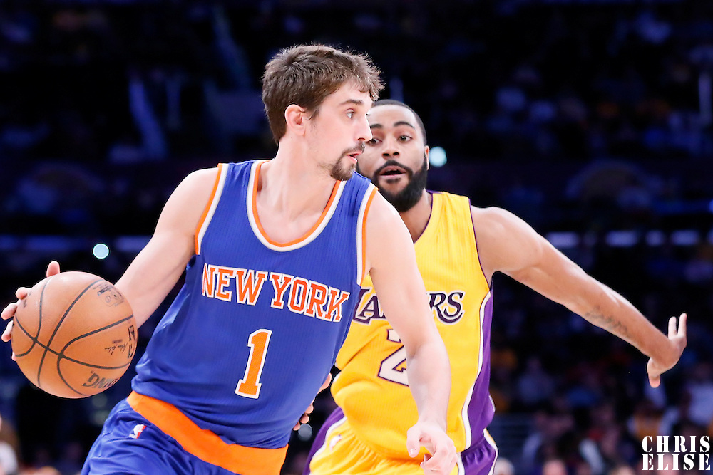 12 March 2015: New York Knicks guard Alexey Shved (1) drives past Los Angeles Lakers guard Wayne Ellington (2) during the New York Knicks 101-94 victory over the Los Angeles Lakers, at the Staples Center, Los Angeles, California, USA.