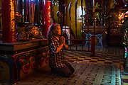 Tran To Nga prays at a buddhist temple in Dong Nai, Vietnam, which stands in honor of one of her ancestors that founded the area. Just several weeks later, she would return to Paris to take on the monumental task of taking Monsanto chemical corporation to court over their production of Dioxin, better known as Agent Orange, which has destroyed, and still is affecting the lives of many Vietnamese, including Nga and her grown children still today.