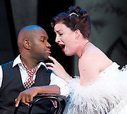 Charlie Parker's Yardbird<br /> by Daniel Schnyder <br /> librettist Bridgette A. Wimberly <br /> English National Opera <br /> at Hackney Empire, London, Great Britain <br /> 7th June 2017 <br /> <br /> <br /> Lawrence Brownlee as Charlie Parker <br /> <br /> <br /> Rachel Sterrenberg as Chan Parker <br /> <br /> <br /> <br /> <br /> <br />  <br /> Photograph by Elliott Franks <br /> Image licensed to Elliott Franks Photography Services