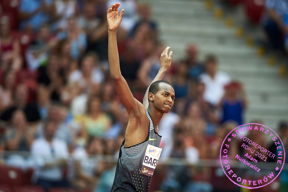 Warsaw, Poland - 2016 August 28: Mutaz Barshim from Qatar competes in men's high jump competition during athletics meeting Kamila Skolimowska Memorial 2016 at PGE National Stadium  August 28, 2016 w Warsaw, Poland.<br /> <br /> Adam Nurkiewicz declares that he has no rights to the image of people at the photographs of his authorship.<br /> <br /> Picture also available in RAW (NEF) or TIFF format on special request.<br /> <br /> Any editorial, commercial or promotional use requires written permission from the author of image.<br /> <br /> Mandatory credit:<br /> Photo by &copy; Adam Nurkiewicz