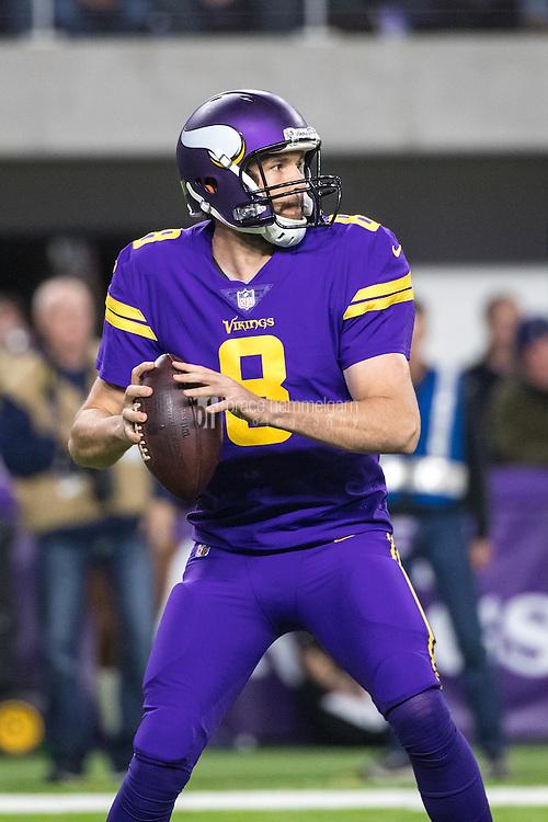 Dec 1, 2016; Minneapolis, MN, USA; Minnesota Vikings quarterback Sam Bradford (8) during a game between the Dallas Cowboys and Minnesota Vikings at U.S. Bank Stadium. The Cowboys defeated the Vikings 17-15. Mandatory Credit: Brace Hemmelgarn-USA TODAY Sports