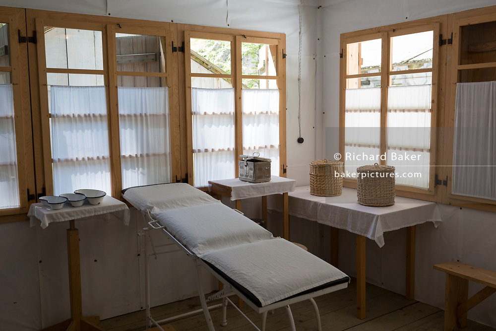 Interior of the Surgery Cabin at the WW2-era Franja Partisan Hospital, on 20th June 2018, near Dolenji Novaki, Slovenia. From December 1943 until the end of the war as part of a broadly organized resistance movement against the Fascist and Nazi occupying forces, the hospital was set in a deep gorge in rural Slovenia where fighters were brought in from many areas to be treated in this secret location. 578 were treated here but the mortality rate were only 10% and the site was never discovered by German forces. Franja is in the UNESCO Tentative List of World Heritage sites.