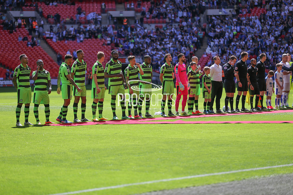 Line up for national anthem during the Vanarama National League Play Off Final match between Tranmere Rovers and Forest Green Rovers at Wembley Stadium, London, England on 14 May 2017. Photo by Shane Healey.