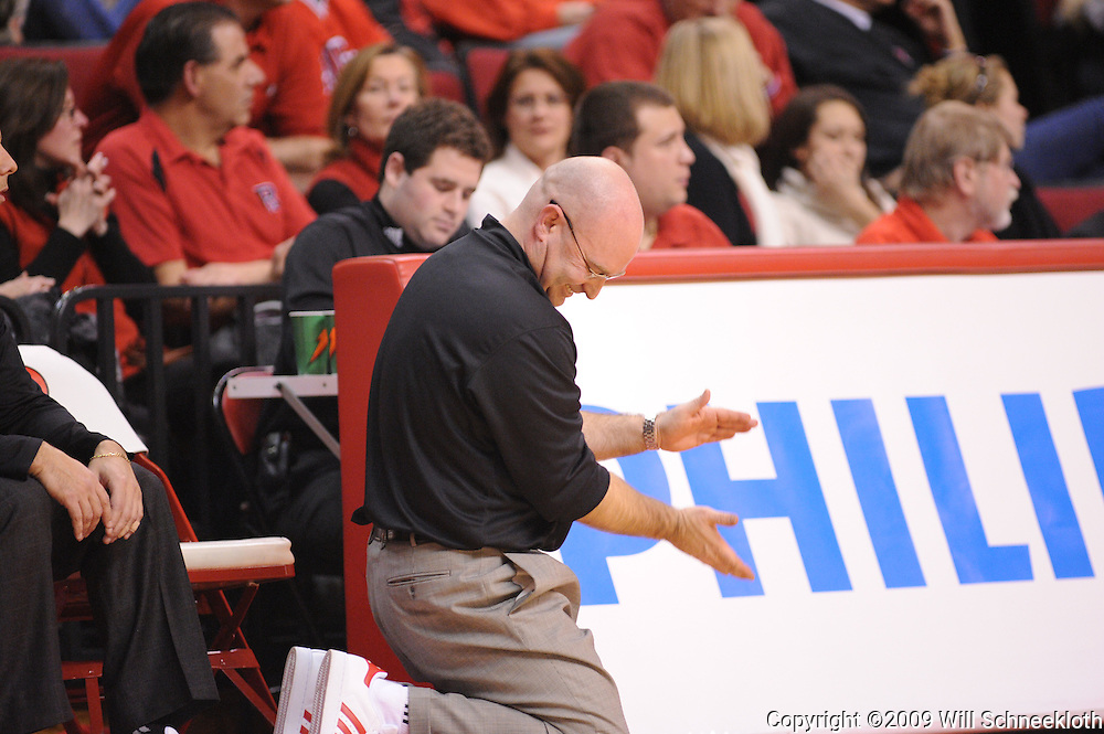 Jan 31, 2009; Piscataway, NJ, USA; Rutgers head coach Fred Hill  reacts to a missed opportunity during the second half of Rutgers' 75-56 victory over DePaul in NCAA college basketball at the Louis Brown Athletic Center