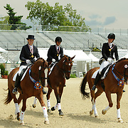 Sylvie Fraser on World Star LHF, Esmee Ingham on Norseman and Monica Houweling on Stentano at the 2010 North American Young Rider Championships in Lexington, Kentucky.