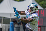 Carolina Panthers Running back Cameron Artis-Payne (34) catches a pass during training camp at Wofford College, Sunday, August 11, 2019, in Spartanburg, S.C. (Brian Villanueva/Image of Sport)
