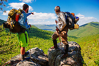 Two Appalachian Trail Thru-hikers near Dragonstooth outside Roanoke, Virginia.