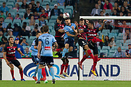 SYDNEY, AUSTRALIA - APRIL 13: Sydney FC player midfielder Anthony Caceres (17) battles Western Sydney Wanderers defender Brendan Hamill (5), Western Sydney Wanderers forward Oriol Riera (9) and Western Sydney Wanderers midfielder Rashid Mahazi (22) for the ball at round 25 of the Hyundai A-League Soccer between Western Sydney Wanderers and Sydney FC  on April 13, 2019 at ANZ Stadium in Sydney, Australia. (Photo by Speed Media/Icon Sportswire)
