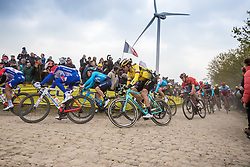 Maarten Wynants (BEL) of Team Jumbo-Visma (NED,WT,Bianchi) on cobblestone sector 26 during the 2019 Paris-Roubaix (1.UWT) with 257 km racing from Compiègne to Roubaix, France. 14th April 2019. Picture: Thomas van Bracht | Peloton Photos<br /> <br /> All photos usage must carry mandatory copyright credit (Peloton Photos | Thomas van Bracht)