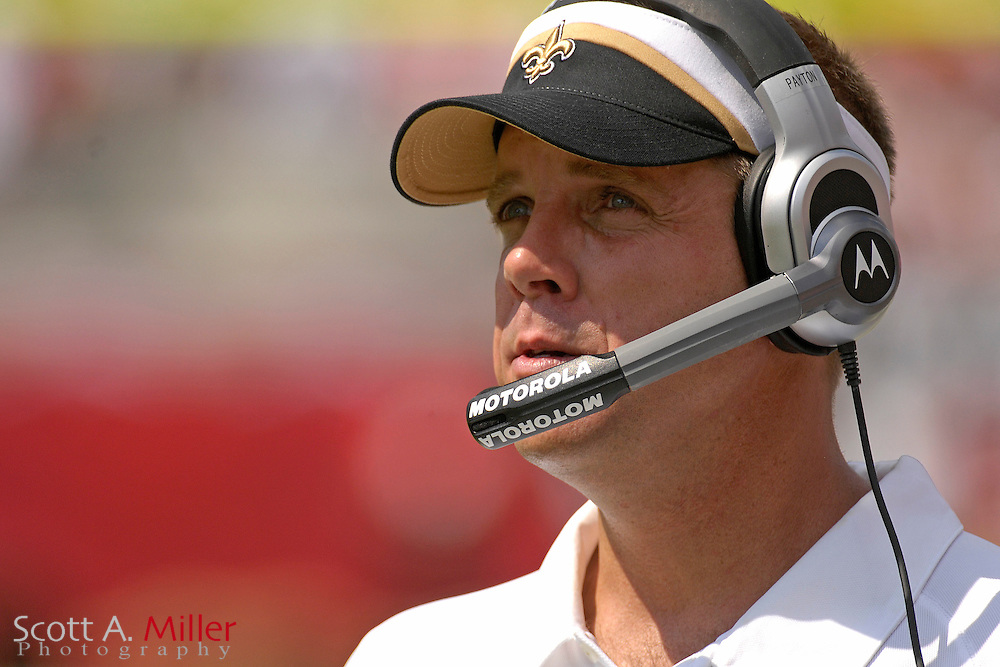 Sep 16, 2007; Tampa, FL, USA; New Orleans Saints coach Sean Payton during his team's 31-14 loss to the Tampa Bay Buccaneers at Raymond James Stadium. Tampa Bay won the game 31-14. ..©2007 Scott A. Miller