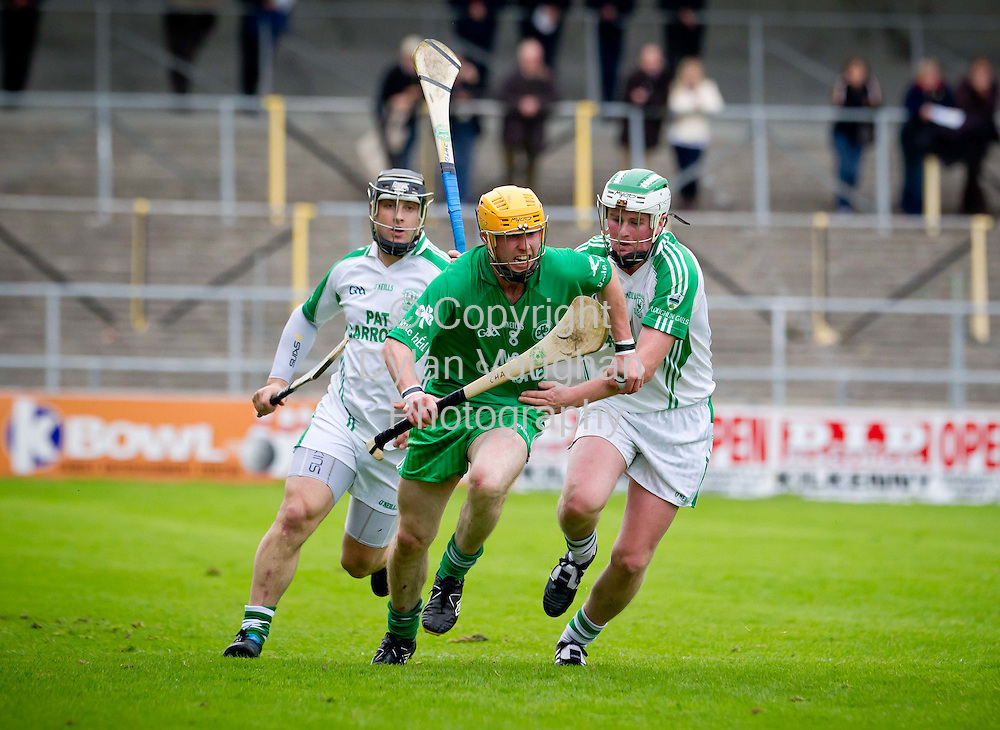 9/10/2011.Pictured in action at the St. Canice's Credit Union S H.C. semi final between Ballyhale Shamrocks and O'Loughlin Gaels  in Nowlan Park was Ballyhale Shamrocks James Cha Fitzpatrick (center) and O'Loghlin Gaels Maurice Nolan (left) and Alan Geoghegan (right)..Picture Dylan Vaughan.