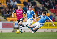 Dundee&rsquo;s Henrik Ojamaa and St Johnstone&rsquo;s Paul Paton - St Johnstone v Dundee in the Ladbrokes Scottish Premiership at McDiarmid Park, Perth: Picture &copy; David Young<br /> <br />  - &copy; David Young - www.davidyoungphoto.co.uk - email: davidyoungphoto@gmail.com