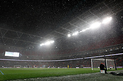Snow falls at Wembley during the FA Cup tie between Tottenham Hotspur and Rochdale - Mandatory by-line: Robbie Stephenson/JMP - 28/02/2018 - FOOTBALL - Wembley Stadium - London, England - Tottenham Hotspur v Rochdale - Emirates FA Cup fifth round proper